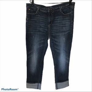 LOVE & LEGEND Distressed Skinny Jeans with Cuff